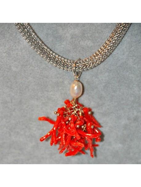 Collier avec pendentif corail Metal&Gemmes