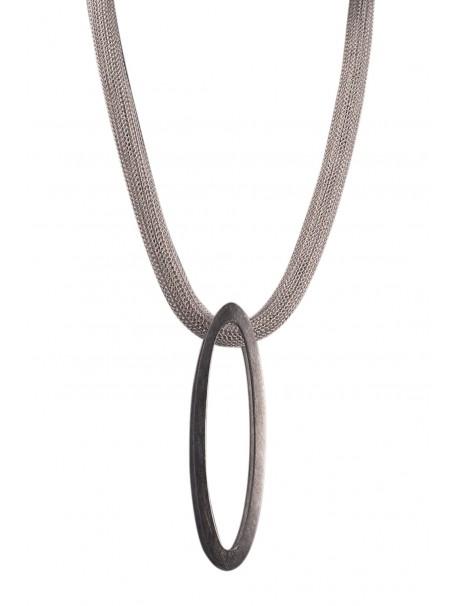 Double Ellipse Necklace – Graphite silver - METAL&SENS