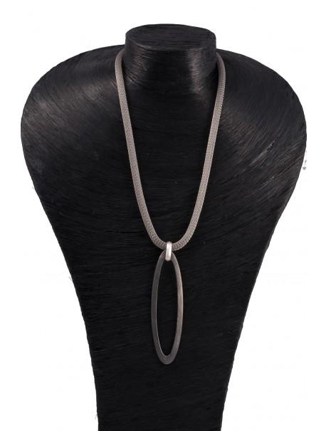 Black Ellipse Necklace - METAL&SENS