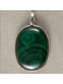 Oval Malachite Pendant (no chains)