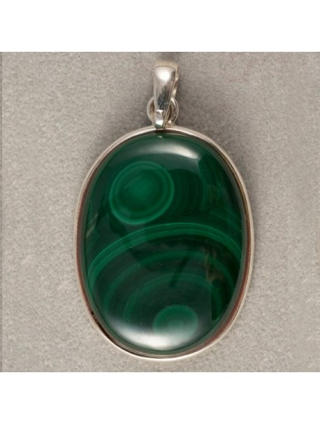 Oval Malachite Pendant (no chains) - METAL&GEMMES