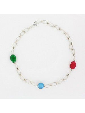 Sterling silver chain necklace with 3 gem stones in 45 cm length