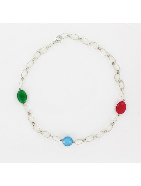 Sterling silver chain necklace with 3 gem stones