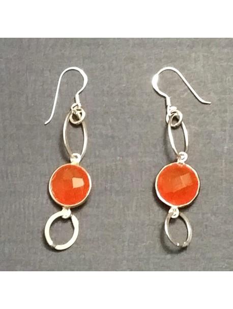 Sterling silver pearced Earrings  - COLORFUL GEMS
