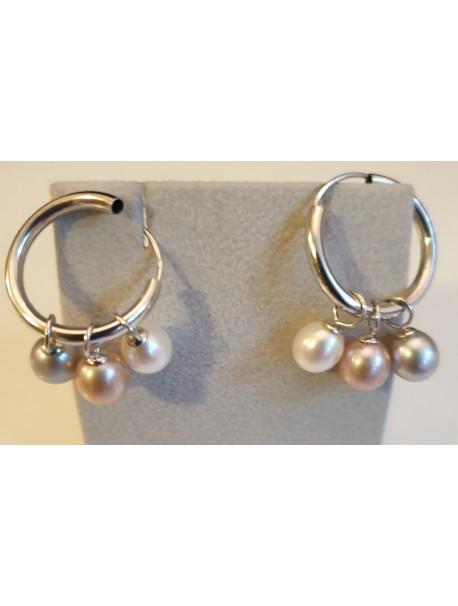 Boucles d'oreilles Créole 3 perles