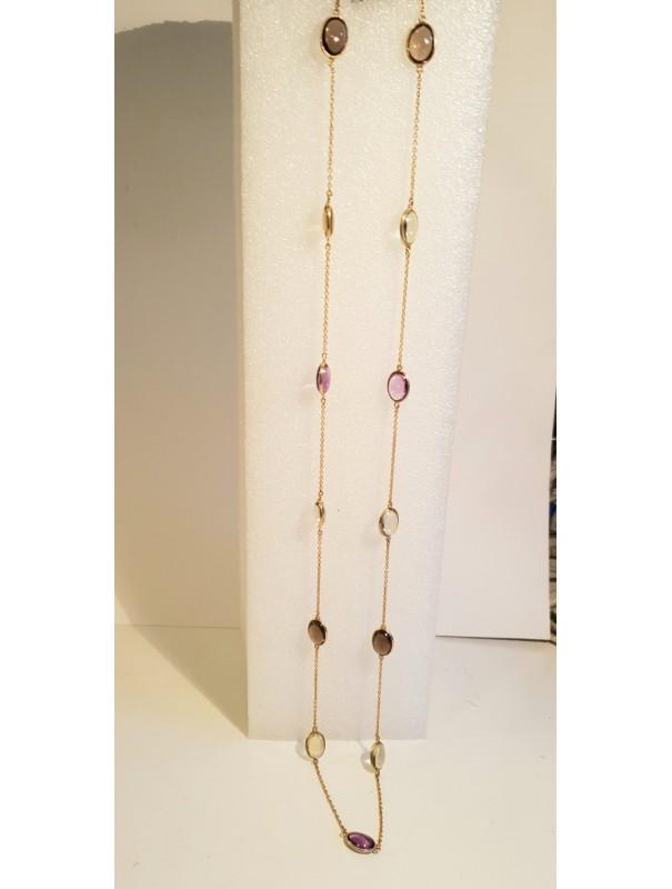 Long collier et pierres fines