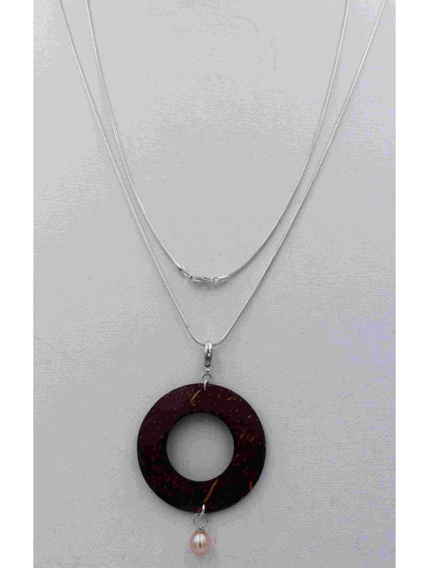 Collier argent pendentif bois de coco et perle rose