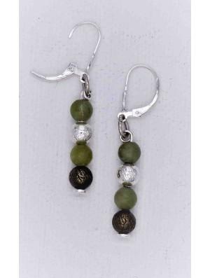 boucles d'oreilles pendantes - Marbre vert et argent