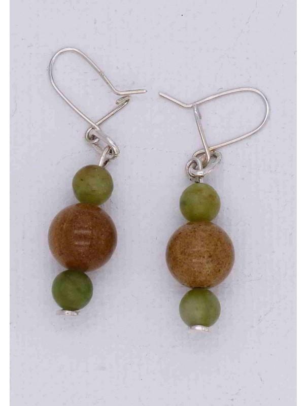 boucles d'oreilles pendantes - marbre vert et ambre