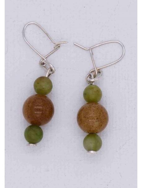 Boucles d'Oreilles Marbre Vert et Ambre